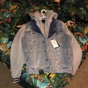 Combo sweater denim jacket